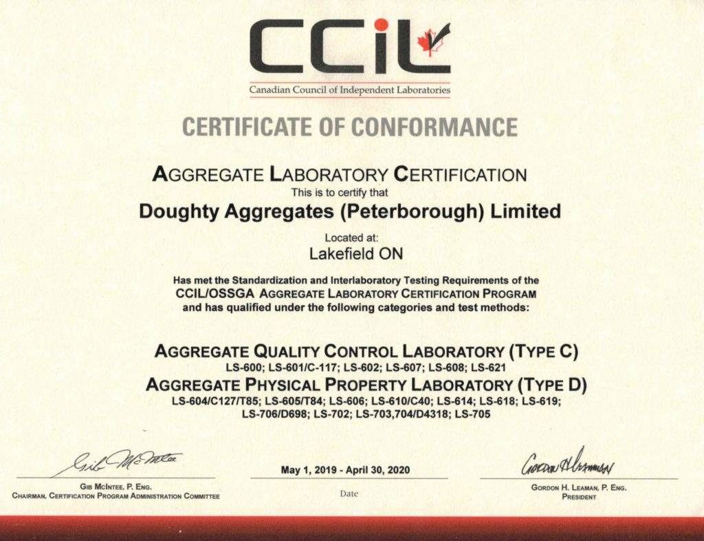 CCIL Certificate of Conformance